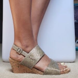 White Mountain Alexus Gold Glitter Wedge Sandals